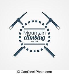 山, ベクトル, climbing., ロゴ