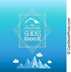 山, ベクトル, emblem.