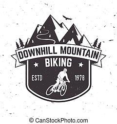 山, ベクトル, illustration., biking., 下り坂に
