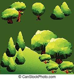 山, マツ, 抽象的, 木, polygonal, 緑の風景