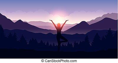 山, ヨガ, 数字, 木の景色, 女の子, 作り, 日の出, 光景
