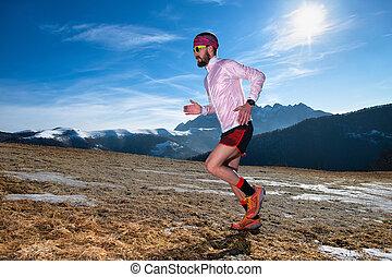 山, ランナー, 坂の上へ, 滑りやすい, 行動, 地面