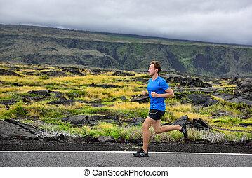 山, ランナー, 運動選手, 走っている男性, 道