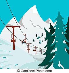 山, リフト, スキー