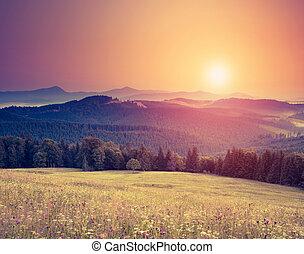 山, レトロ, 風景