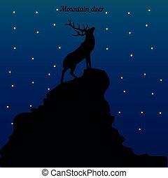 山, 上げられた, シルエット, 輝き, 上, 鹿, 星, 夜, 頭, どこ(で・に)か