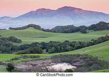 山, 上に, 日没, diablo, カリフォルニア