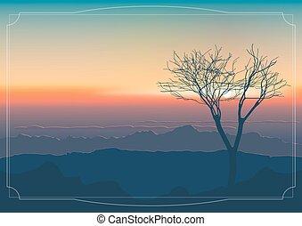 山, 上に, 日没, landscape: