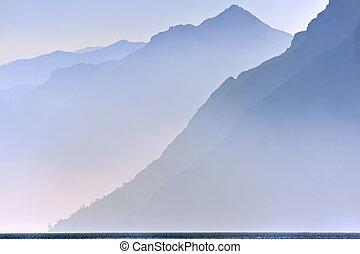 山, 上に, 湖, garda
