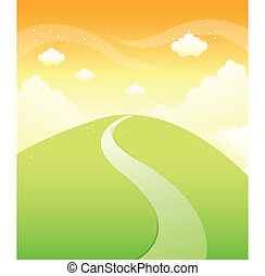 山, 上に, 空, 緑, 道