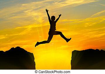山, 上に, 跳躍, 若い人