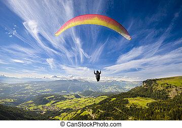 山, 上に, 飛行, paraglider