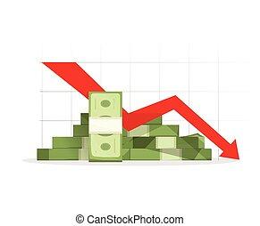 山, 下方に, 矢, グラフ, 景気後退, 現金, 赤