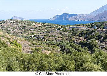 山, 丘, 島, 前方へ, 道, crete.