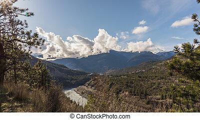 山, 中に, ∥, フレーザー, 峡谷