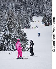 山, 人々, スキー