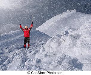 山, 人, 冬の氷, 一突き