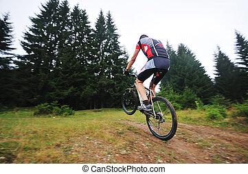 山, 人, 屋外, 自転車