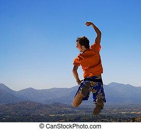 山, 人, 跳躍, 幸せ