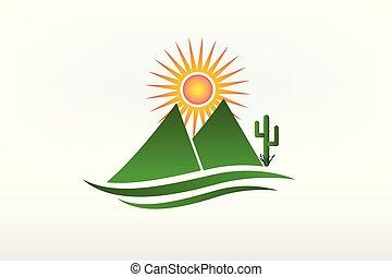 山, 仙人掌, 以及, 太陽, 標識語, 矢量, 圖象