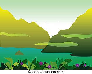山, 以及, 叢林, 風景