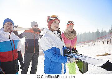 山, 休日, スキー, 友人