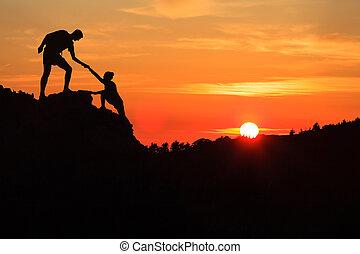 山, 促すこと, 信頼, チームワーク, 手, 恋人, 助力
