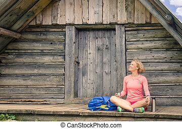 山, 促すこと, 女, キャンプ, 飲むこと, 風景