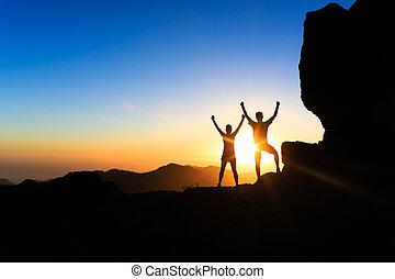 山, 促すこと, 成功, 人々, 恋人, チームワーク