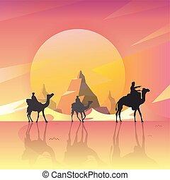 山, 偉人, ベクトル, 月, nature., -, イラスト, scenery., ラクダ, 背景, 夜, 砂漠, art.