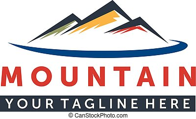 山, 優雅である, ベクトル, デザイン, ロゴ, ロゴ