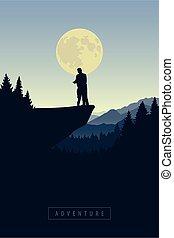 山, 光亮, 夫婦, 月亮, 多雪, 懸崖