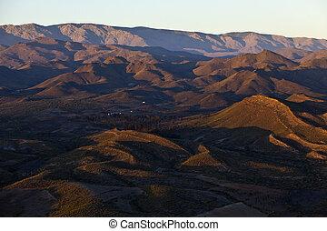 山, 光景, 航空写真, 日没, 砂漠