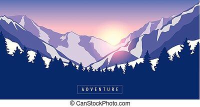 山, 冒險, 日出, 多雪