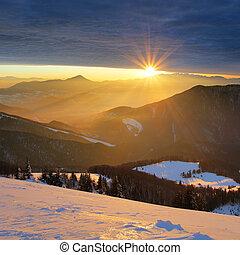 山, 冬天太陽, -, 斯洛伐克, 風景