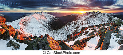 山, 冬天, 全景, -, 斯洛伐克, 傍晚, 風景