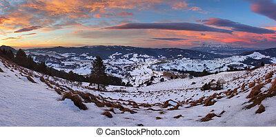 山, 冬天, -, 秋天, 斯洛伐克, 風景