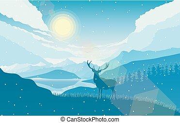 山, 冬天, 鹿, 湖森林, 風景