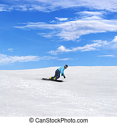 山, 冬, スノーボーダー