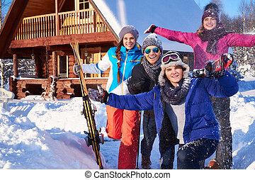 山, 冬, ホリデー, コテッジ, 友人, 費やしなさい, 最も良く