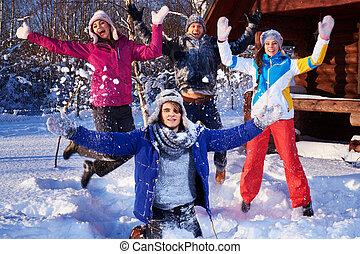 山, 冬, ホリデー, cottage., 友人, 費やしなさい, 最も良く