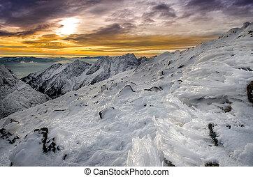 山, 冬, 凍らせられた, 雪, 日没, アイシング