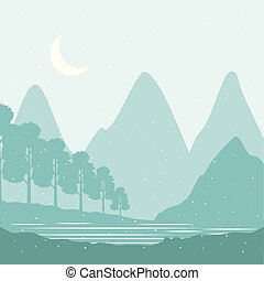 山, 冬, 雪, 松の木, 風景