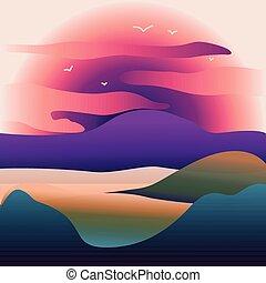 山, 前景。, 山, 太陽, 在上方, 湖, 插圖, 或者, 矢量, 傍晚, 背景, 風景。, 黎明, 河, 圖像, 摘要