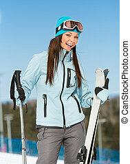 山, 半分長さ, スキーヤー, 女性, 肖像画