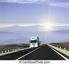 山, 卡車, road.