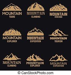 山, 印。, セット, バックグラウンド。, スタイル, アイコン, 暗い, ラベル, 金, 紋章, 要素, ロゴ, デザイン, 隔離された