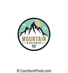 山, 印, 森林, ベクトル, 冒険, バッジ, ロゴ, アイコン