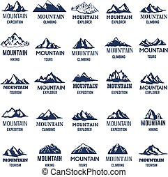 山, 印。, 要素, icons., ラベル, ロゴ, デザイン, セット, 大きい