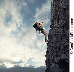山, 危険, 上昇, 高く, ロープ, 人